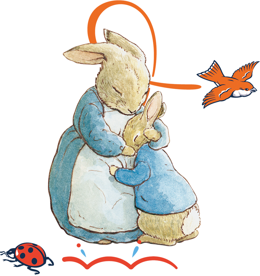 An image of Peter Rabbit and his Mum hugging with some extra decorative elements