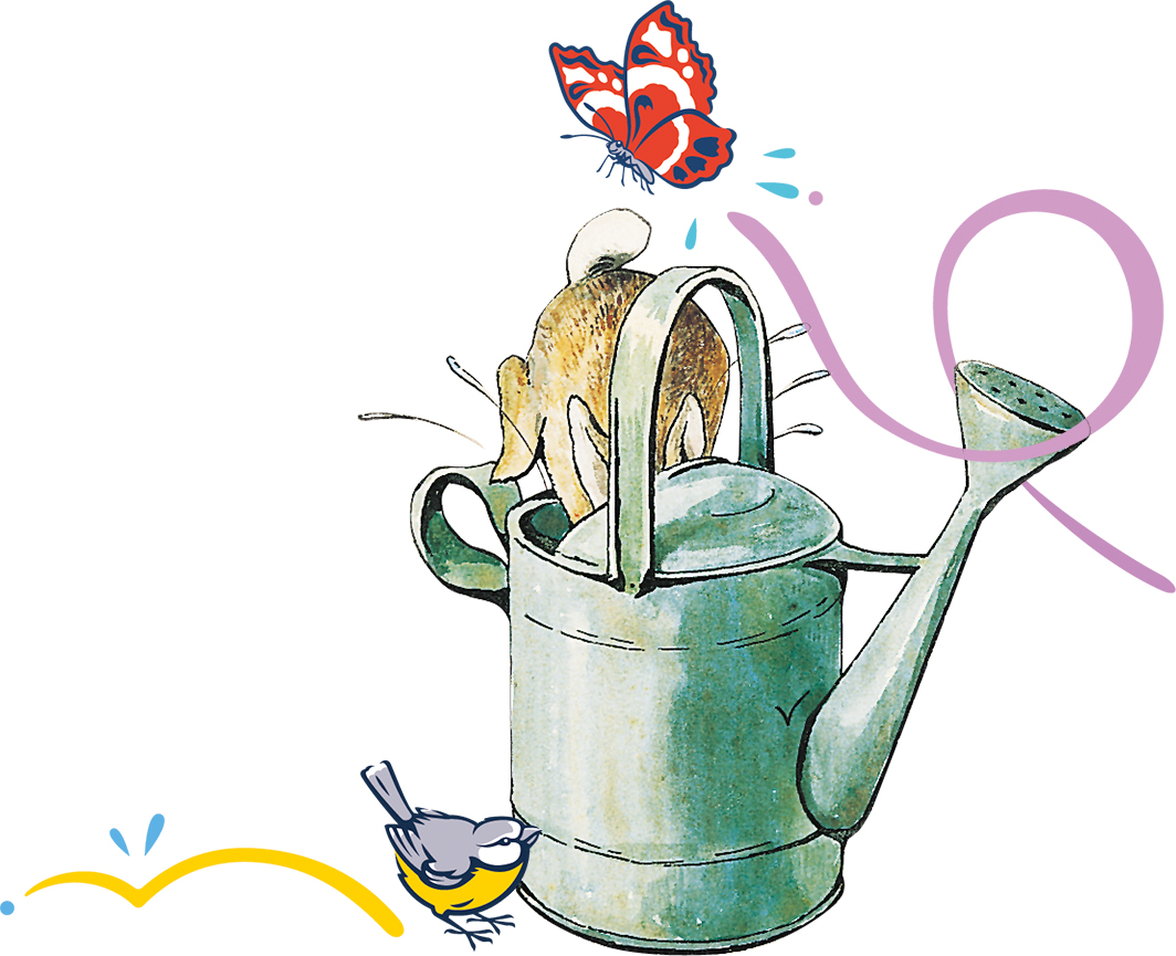 An image of Peter Rabbit hopping into a watering can with some extra decorative elements