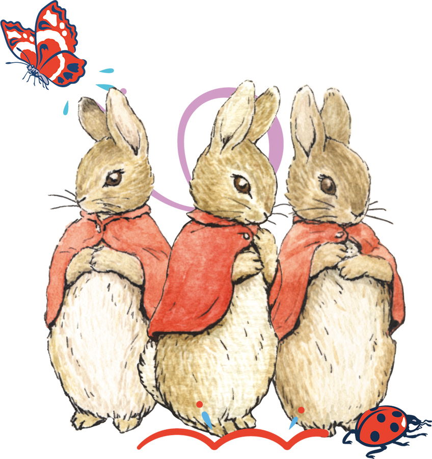 An image of Flopsy, Mopsy and Cotton-tail with some extra decorative elements