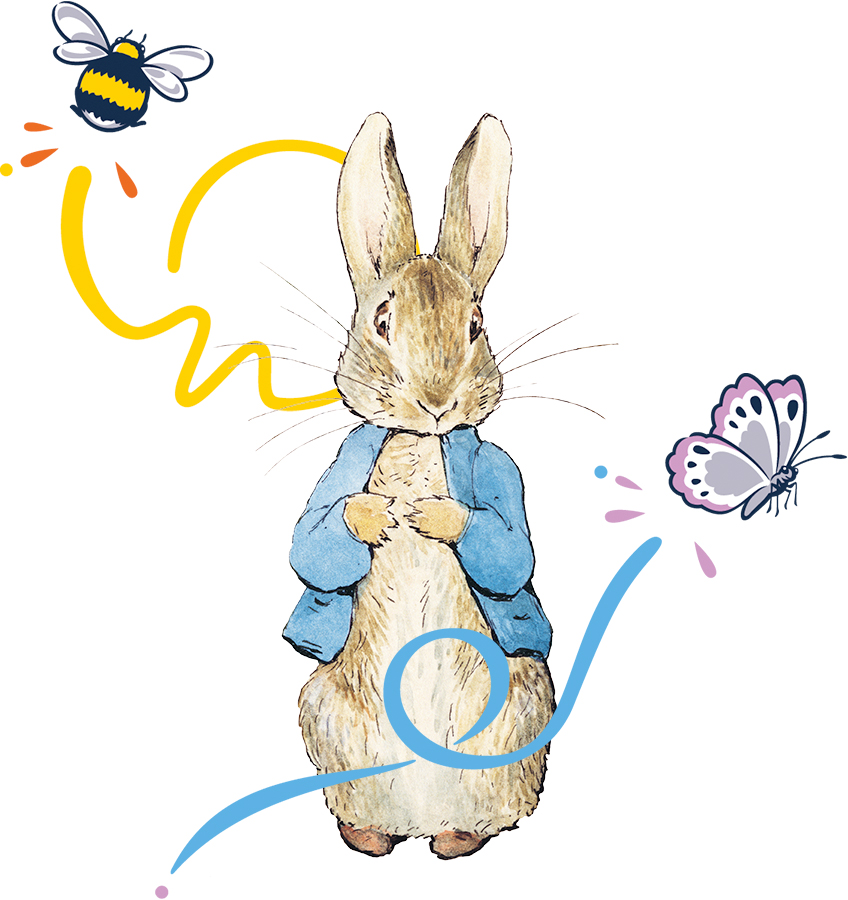 An image of Peter Rabbit with some extra decorative elements