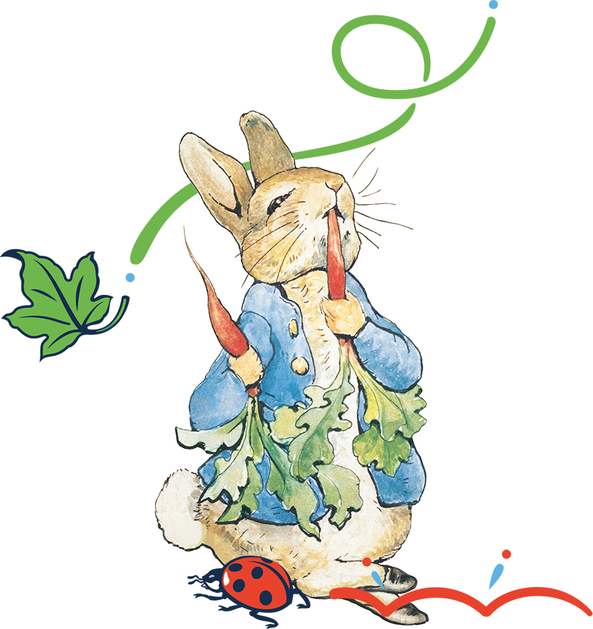 An image of Peter Rabbit chewing on a carrot with some extra decorative elements