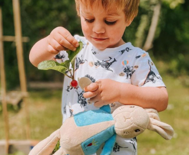 An image of a young child playing with a Peter Rabbit toy available from The World of Peter Rabbit shop