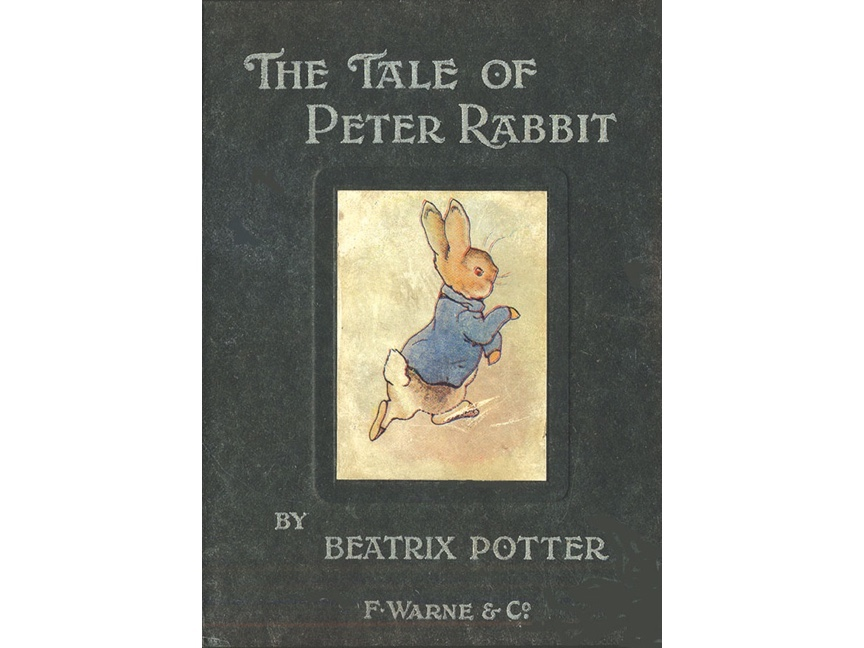 An image of the first book - The Tale of Peter Rabbit - to be commercially published for Beatrix Potter.