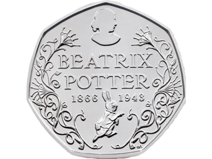 An image of the commemorative 50 pence piece to released to commemorate the 150th birthday of Beatrix.
