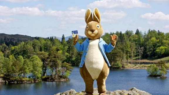 An image of a giant Peter Rabbit from Beatrix Potter World, which is set in the Lake District